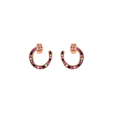 Organic Circle Hoop Earring - Crystal/Rose Gold Plated