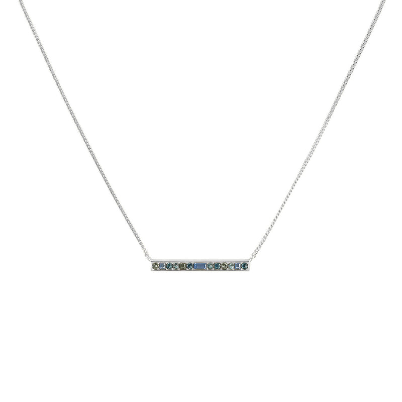 Baguette & Round Bar Necklace- Crystal/Rhodium Plated