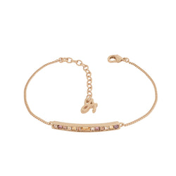 Baguette & Round Bar Bracelet - Crystal/Rose Gold Plated