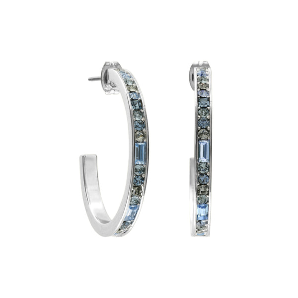 Baguette & Round Hoop Earrings- Crystal/Rhodium Plated