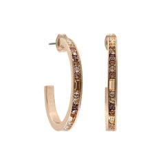 Baguette & Round Hoop Earrings - Crystal/Rose Gold Plated