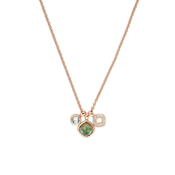 MOP Doublet Charm Necklace - Crystal/Rose Gold Plated