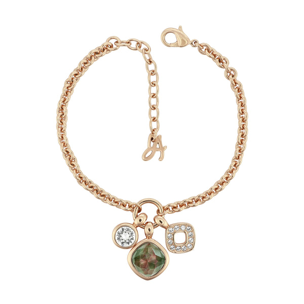 MOP Doublet Charm Bracelet - Crystal/Rose Gold Plated