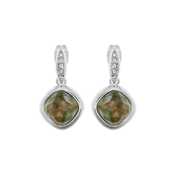 MOP Doublet Earrings - Crystal/Rhodium Plated