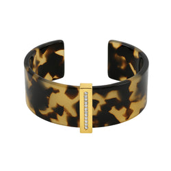 Resin & Pave Cuff - Crystal/Gold Plated