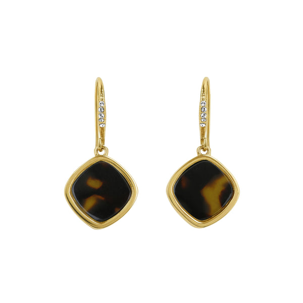 Resin Soft Square French Wire Earring - Crystal/Gold Plated