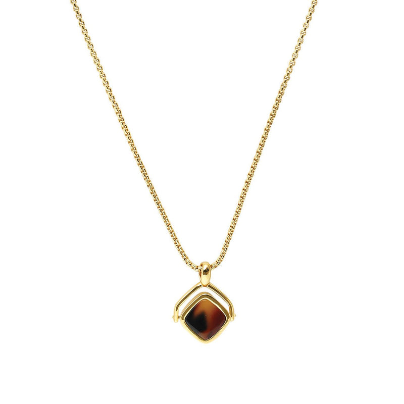 Resin Soft Square Spinner Necklace - Crystal/Gold Plated
