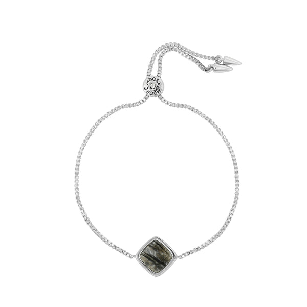 Resin Soft Square Slide Bracelet - Crystal/Rhodium Plated