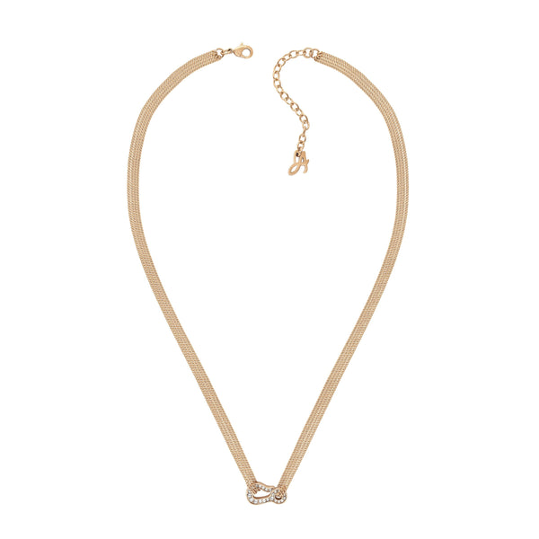 Pavé Hook Necklace - Crystal/Rose Gold Plated
