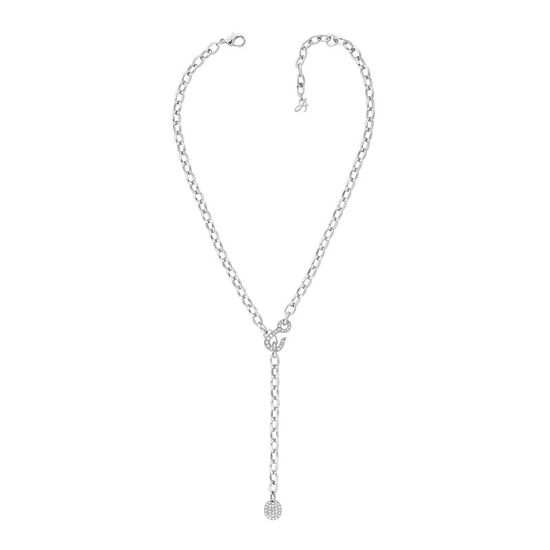 Pavé Hook Y Necklace - Crystal/Rhodium Plated