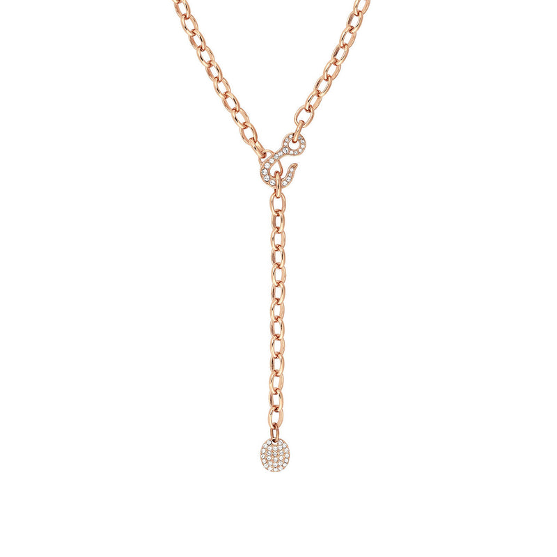 Pavé Hook Y Necklace - Crystal/Rose Gold Plated