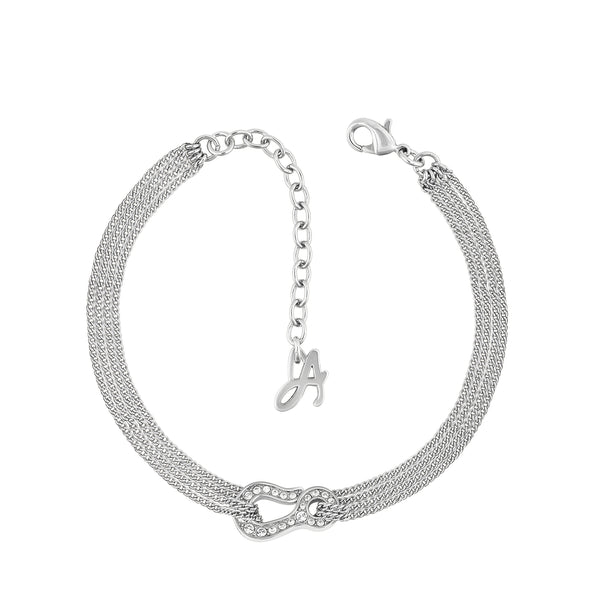 Pavé Hook Bracelet - Crystal/Rhodium Plated