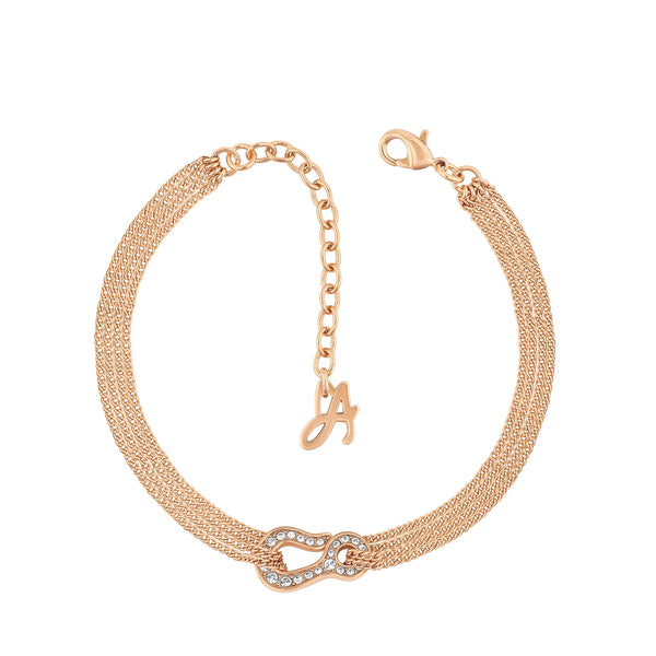 Pavé Hook Bracelet - Crystal/Rose Gold Plated