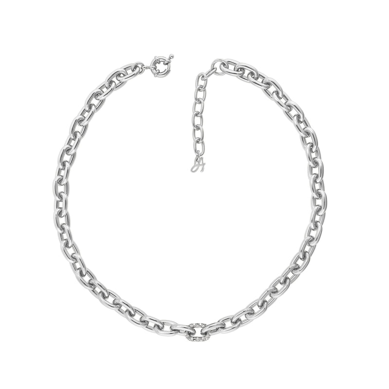 Lozenge Chain & Pave Necklace - Crystal/Rhodium Plated