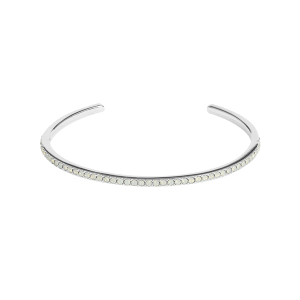 Skinny Pavé Bangle - White Opal/Rhodium Plated
