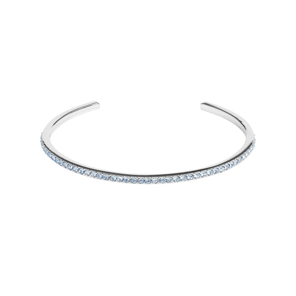Skinny Pavé Bangle - Light Sapphire/Rhodium Plated