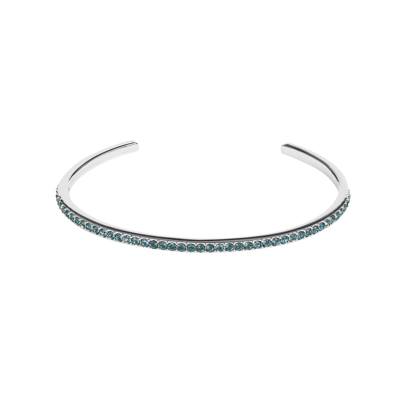 Skinny Pavé Bangle - Montana/Rhodium Plated