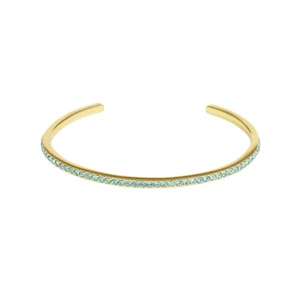 Skinny Pavé Bangle - Light Turquoise/Gold Plated