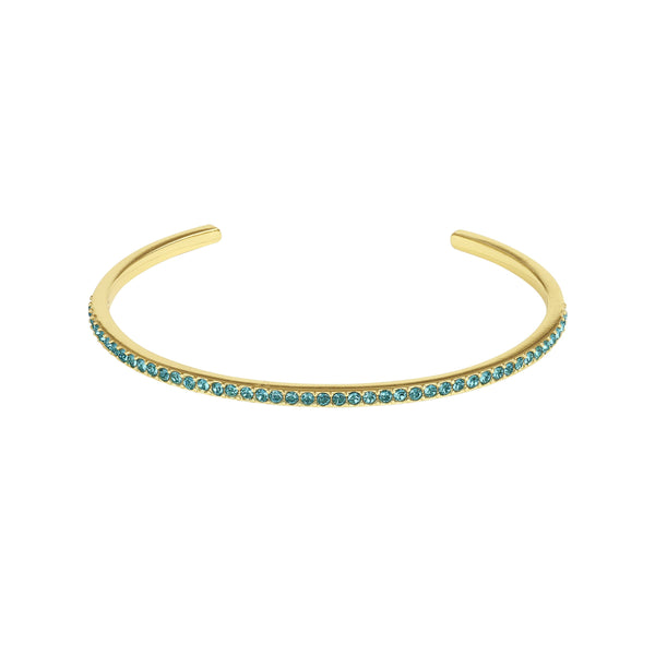 Skinny Pavé Bangle - Indicolite/Gold Plated