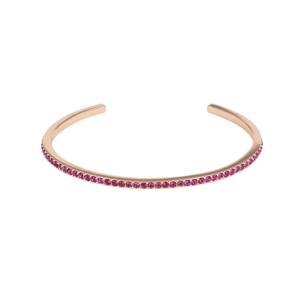 Skinny Pavé Bangle - Ruby/Rose Gold Plated