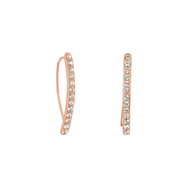 Mini Pavé Arc Earrings - Crystal/Rose Gold Plated
