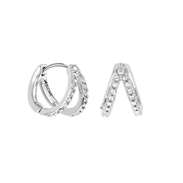 Pavé Double Mini Hoops - Crystal/Rhodium Plated