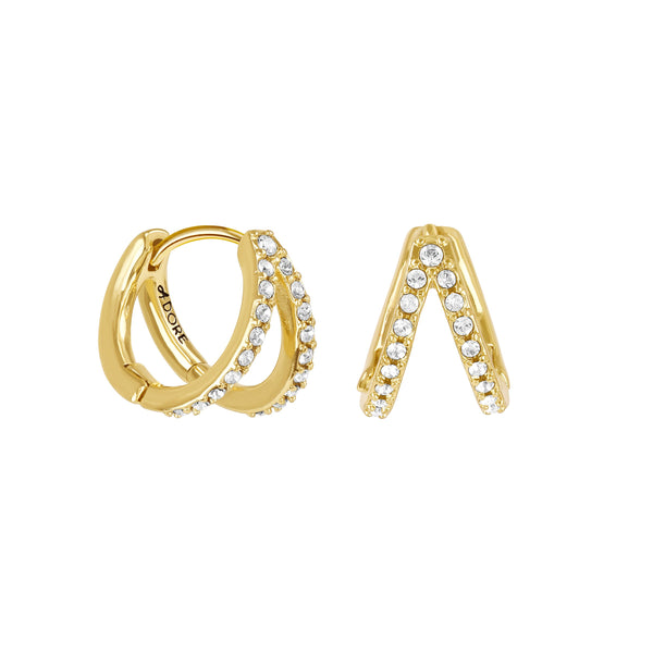 Pavé Double Mini Hoops - Crystal/Gold Plated