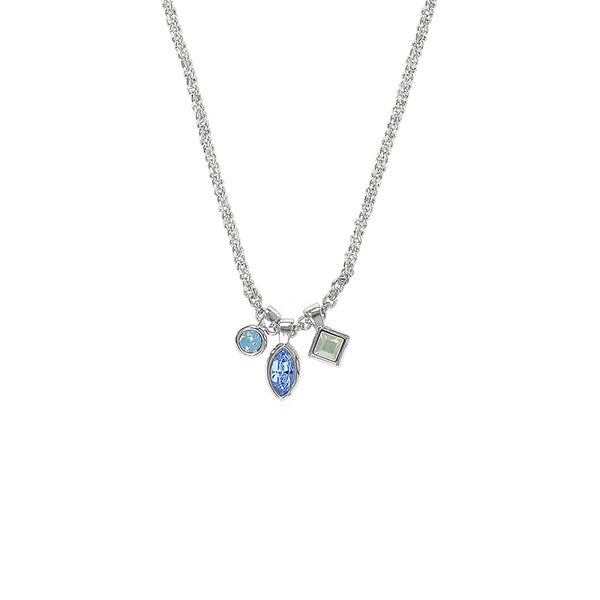 Crystal Charm Drop Necklace - Blue Multi/Rhodium Plated