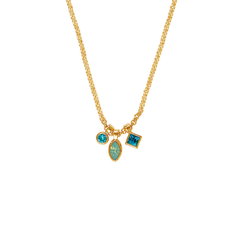 Crystal Charm Drop Necklace - Turquoise Multi/Gold Plated