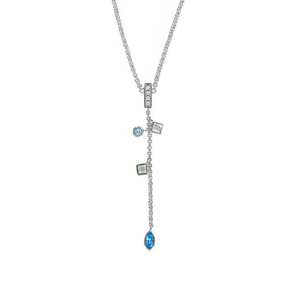 Crystal Charm Drop Y Necklace - Blue Multi/Rhodium Plated