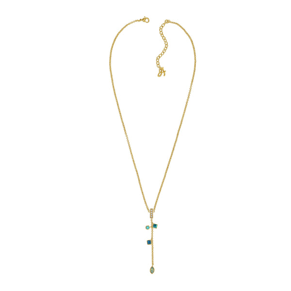 Crystal Charm Drop Y Necklace - Turquoise Multi/Gold Plated
