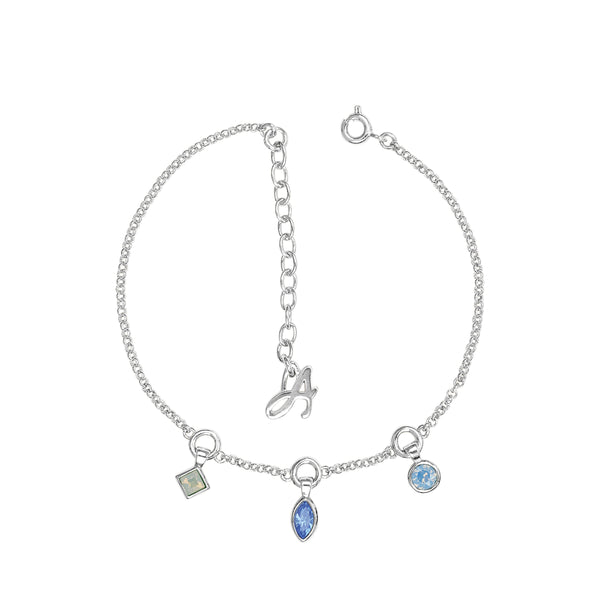 Crystal Charm Drop Line Bracelet - Blue Multi/Rhodium Plated