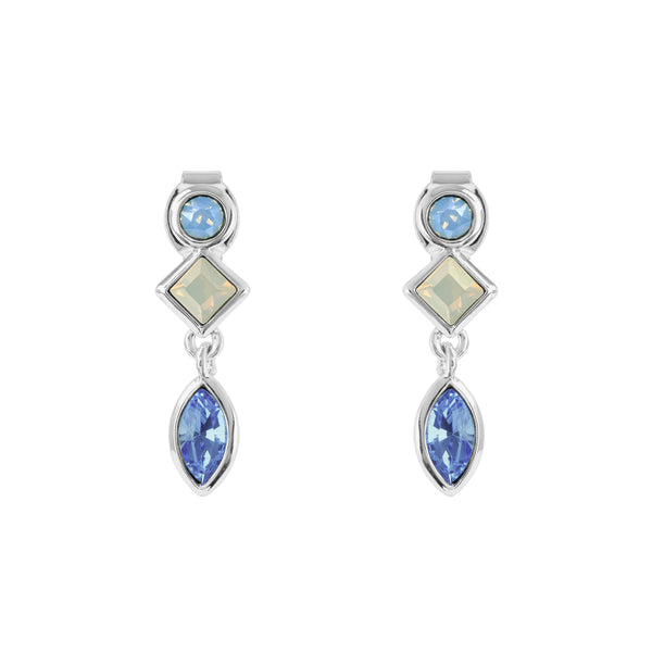 Crystal Charm Earrings - Blue Multi/Rhodium Plated