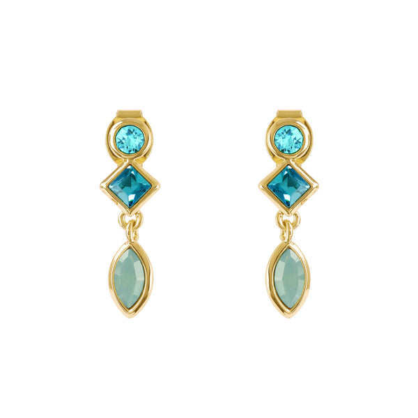 Crystal Charm Earrings - Turquoise Multi/Gold Plated