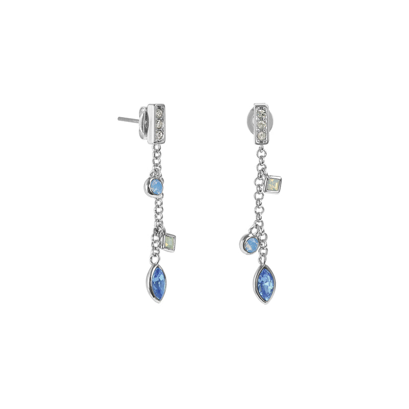 Crystal Charm Drop Chain Earrings - Blue Multi/Rhodium Plated