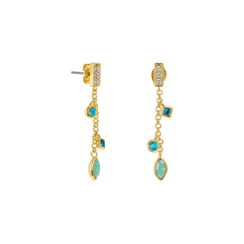 Crystal Charm Drop Chain Earrings - Turquoise Multi/Gold Plated
