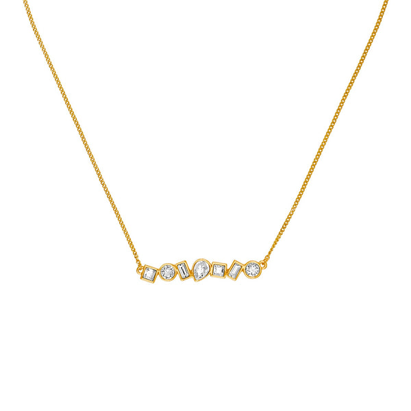Mixed Crystal Bar Necklace - Crystal/Gold Plated