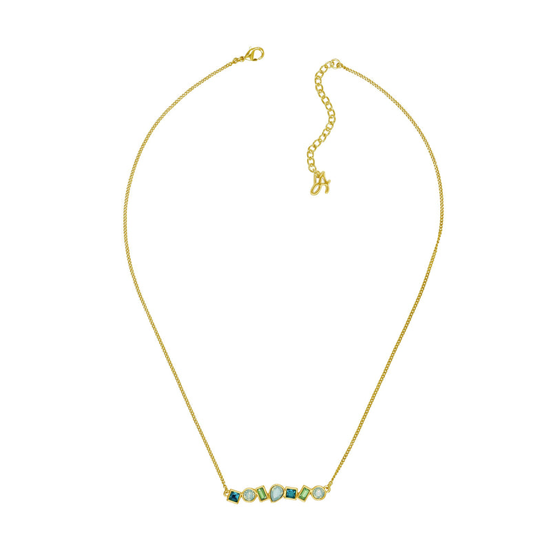 Mixed Crystal Bar Necklace - Turquoise Multi/Gold Plated