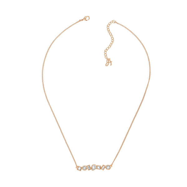 Mixed Crystal Bar Necklace - Crystal/Rose Gold Plated