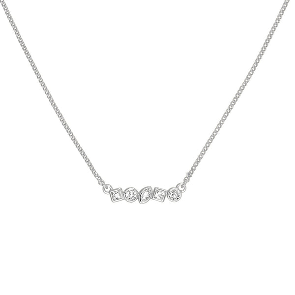 Mini Mixed Crystal Bar Necklace - Crystal/Rhodium Plated