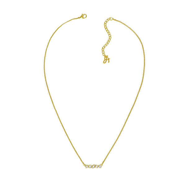Mini Mixed Crystal Bar Necklace - Crystal/Gold Plated