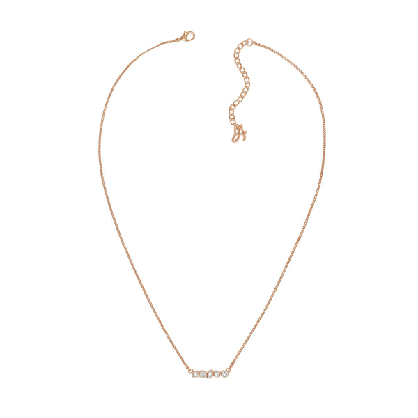 Mini Mixed Crystal Bar Necklace - Crystal/Rose Gold Plated