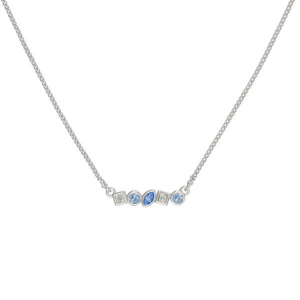 Mini Mixed Crystal Bar Necklace - Blue Multi/Rhodium Plated