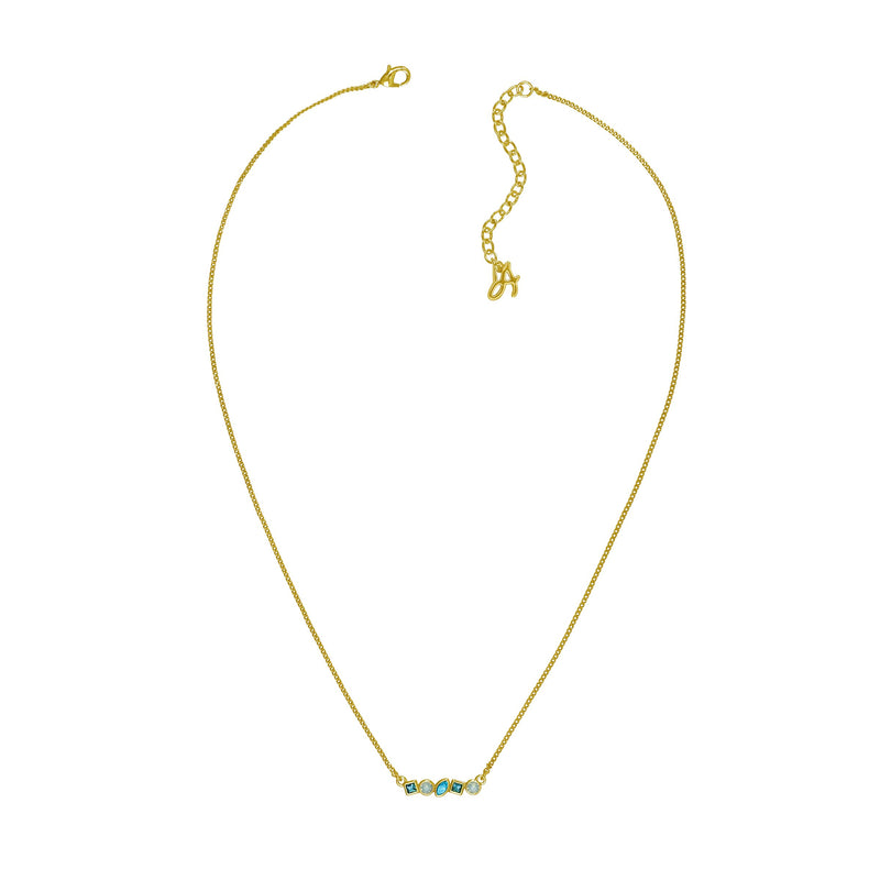 Mini Mixed Crystal Bar Necklace - Turquoise Multi/Gold Plated