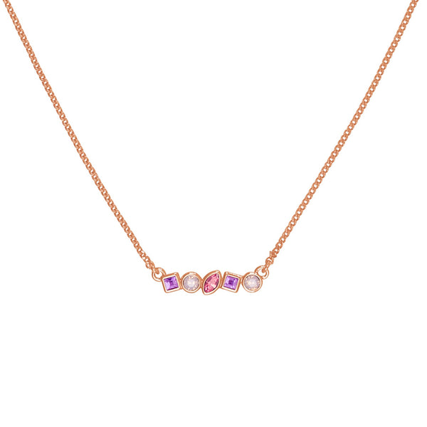 Mini Mixed Crystal Bar Necklace - Pink Multi/Rose Gold Plated