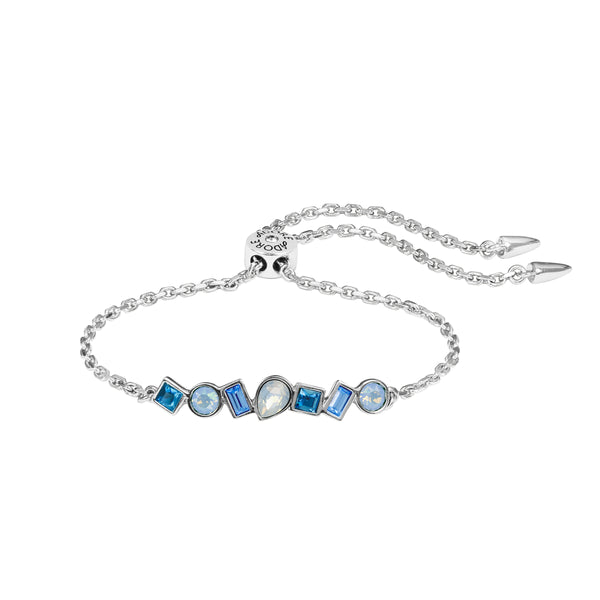 Mixed Crystal Bar Slide Bracelet - Blue Multi/Rhodium Plated