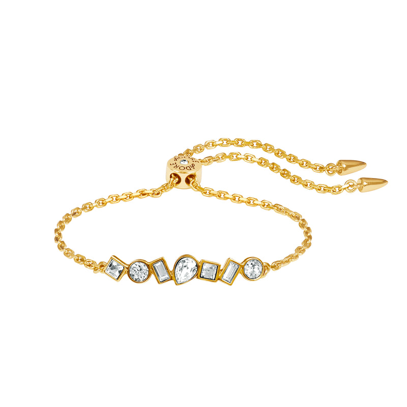 Mixed Crystal Bar Slide Bracelet - Crystal/Gold Plated