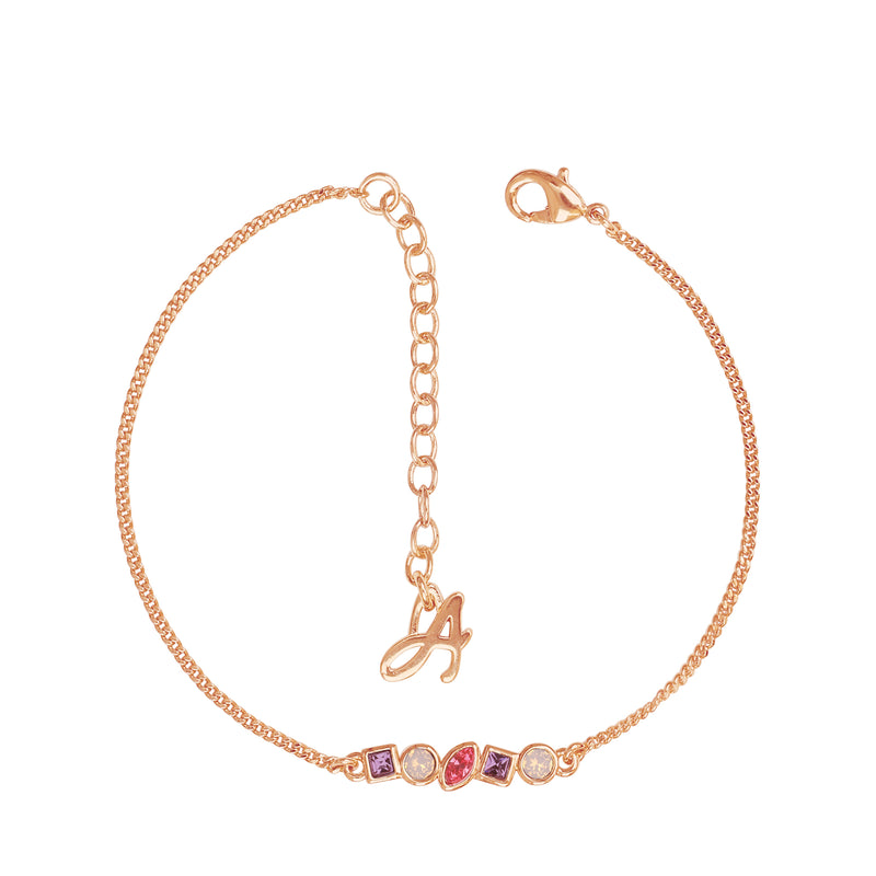 Mini Mixed Crystal Bar Bracelet - Pink Multi/Rose Gold Plated