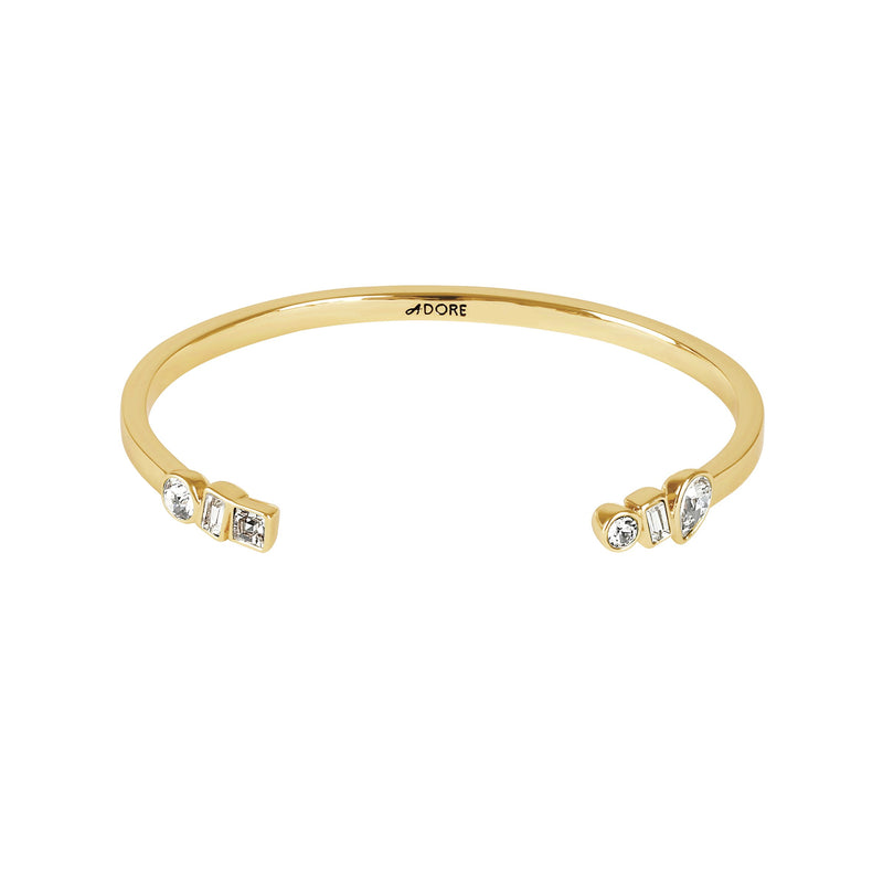 Mixed Crystal Cuff - Crystal/Gold Plated