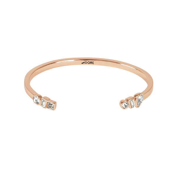 Mixed Crystal Cuff - Crystal/Rose Gold Plated